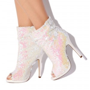 White Sequined Wedding Heels Peep Toe Stiletto Heels Romantic Boots
