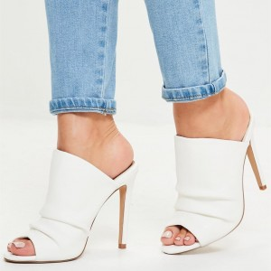 White Slouch Peep Toe Stiletto Heel Mules Sandals