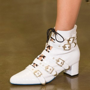 White Snakeskin Booties Buckles Lace Up Chunky Heel Ankle Boots