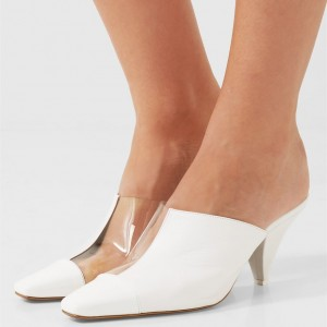 White Square Toe Cone Heels Mule Clear Shoes
