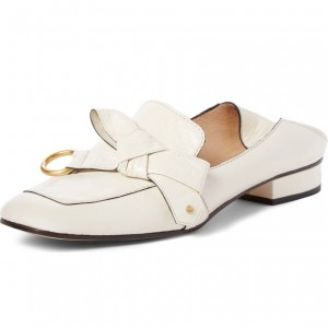 White Square Toe Loafers for Women Comfortable Flats