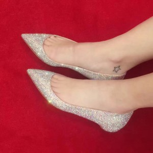 Blush Pointy Toe Flats Rhinestone Comfortable Sparkly Shoes