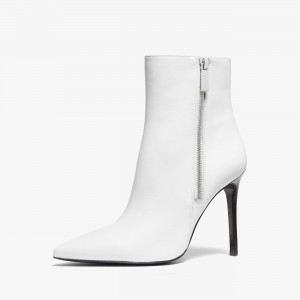 White Stiletto Boots Zipper Pointed Toe Ankle Boots