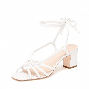 White Strappy Block Heel Sandals