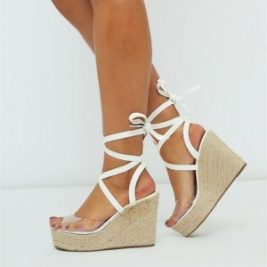White Strappy Clear PVC Platform Wedge Sandals