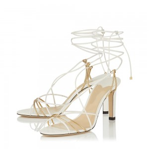White Strappy Heels Stiletto Heel Sandals