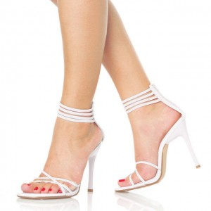 White Strappy Sandals Open Toe Ankle Strap Stiletto Heels Shoes