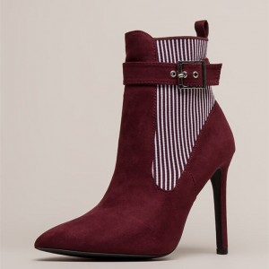 White Stripes Maroon Pointy Toe Stiletto Heel Buckle Ankle Booties