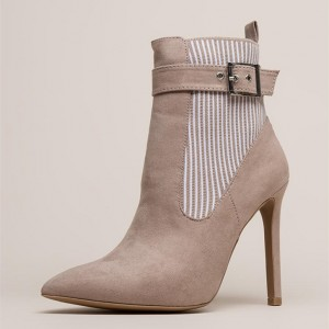 White Stripes Taupe Pointy Toe Stiletto Heel Buckle Ankle Booties