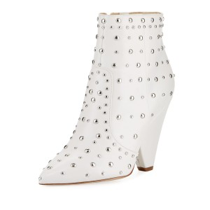 White Studs Fashion Boots Pointy Toe Chunky Heel Ankle Booties