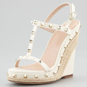 White Studs Platform Wedge Sandals