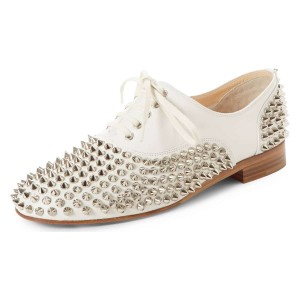 white Studs Shoes Lace Up Oxfords