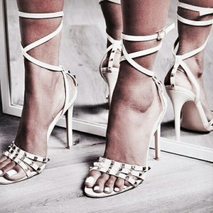 White Studs Shoes Stiletto Heel Ankle Strap Sandals