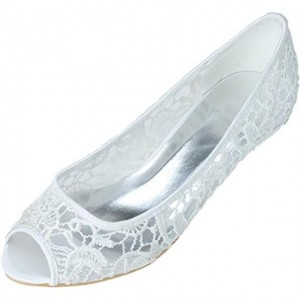 White Wedding Flats Lace Up Comfortable Peep Toe Shoes for Bridesmaid