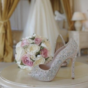 White Wedding Heels Peep Toe Rhinestone Stiletto Heel Pumps