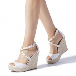 White Chain Crisscross Wedge Sandals Suede Platform Peep Toe Wedges