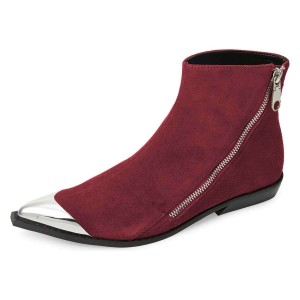 Wine Red and Silver Zipper Flat Ankle Booties by FSJ
