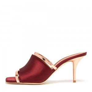Wine Red Satin Mule Heels