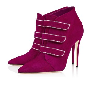 Wine Red Suede Boots Stiletto Heel Ankle Boots