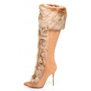 Winter Khaki Stiletto Heels Fur Boots Pointy Toe Suede Knee High Boots