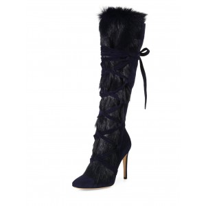 Winter Navy Lace up Stiletto Heels Fur Boots Round Toe Knee High Boots