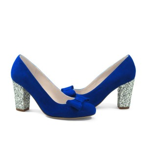 Women' Royal Blue Heels Glitter Chunky Heel Suede Pumps with Bow