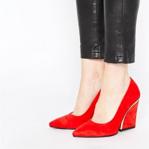 Women's 4 Inch Heels Red Suede Pointy Toe Chunky Heels Pumps by FSJ