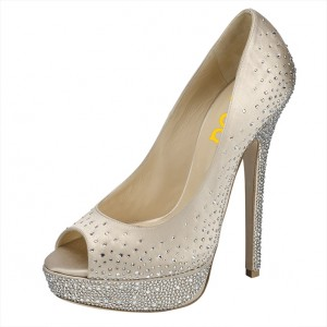 Beige Rhinestone Platform Heels Peep Toe Stiletto Heels Wedding Shoes