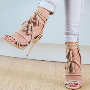 Women's Beige Strappy Sandals Tassel Stiletto Heels Summer Sandals