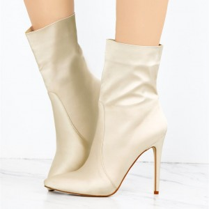 Beige Satin Ankle Booties Pointy Toe Stiletto Heel Boots