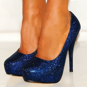 Women's Black- blue Glitter Shoes Almond Toe Platform Stiletto Pumps Heels