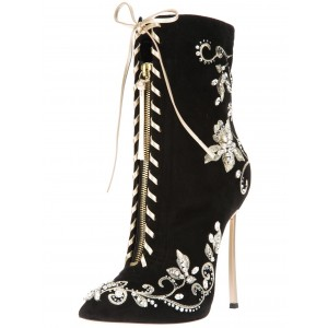 Black and Champagne Lace up Boots Floral Embroided Ankle Booties