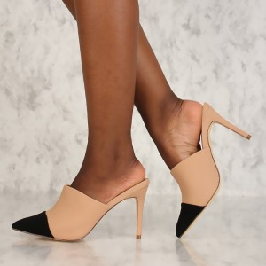 Women's Black and Nude Stiletto Heels Mule