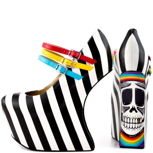 Black and White Heels Stripes Skull Platform Pumps Closed Toe Wedges