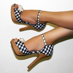 Black and White Plaid Vintage Heels Peep Toe Platform Heeled Sandals