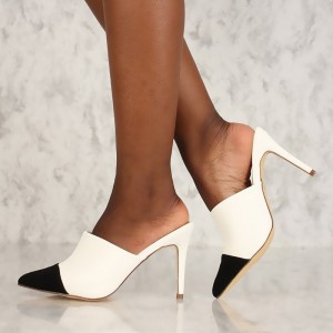 Women's Black and White  Pointed Toe Stiletto Heels Mule