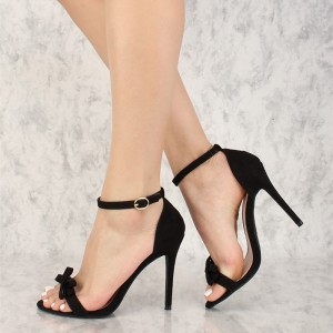 Women's Black Ankle Strap Sandals Sexy Stiletto Heels Sandals with Bow