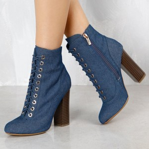 Women's Blue Lace Up Denim Boots Pointy Toe Commuting Ankle Boots