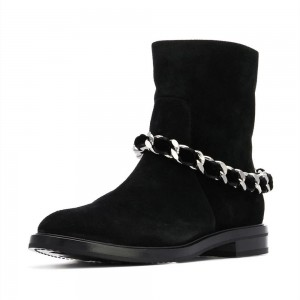 Women's Black Casual Suede Flats Ankle Booties with Chain