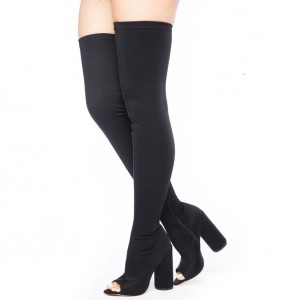 Black Wide Calf Thigh High Boots Block Heel Peep Toe Long Boots