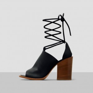 Black Strappy Cut Out Boots Peep Toe Wooden Chunky Heel Ankle Boots