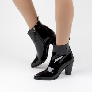 Women's Black Chunky Heels Patent Leather Pointy Toe Ankle Booties