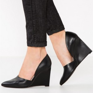Women's Black Closed Toe Wedges Pumps Office Shoes