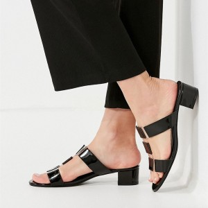 Black Patent Leather and Clear T Strap Block Heels Open Toe Mules