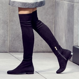 Black Flat Thigh High Boots Round Toe Suede Long Boots