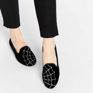 Women's Black Comfortable Flats Web Printed School Shoes