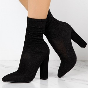 Women's Black Elastic Fashion Boots Comfortable Chunky Heels shoes