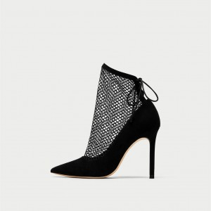 Women's Black Fashion Boots Web Pointed Toe Chunky Heels Ankle Boots