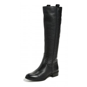 Women's Black Flat Mid-calf Boots Round Toe Long Boots US Size 3-15
