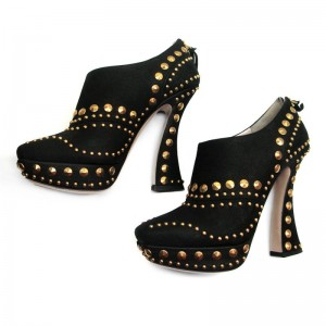 Black Studs Shoes Fashion Suede Platform Ankle Booties